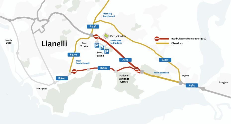 List of Road Closures for Llanelli Half Marathon on Sunday 18th February
